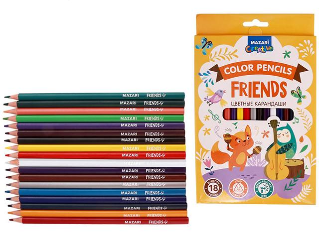 """Карандаши цветные Mazari """"FRIENDS"""" 18 цветов,трёхгранные, пластиковые"""