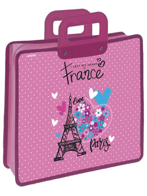 """Папка для тетрадей А4 deVENTE """"Paris"""" на молнии, с пластиковыми ручками"""