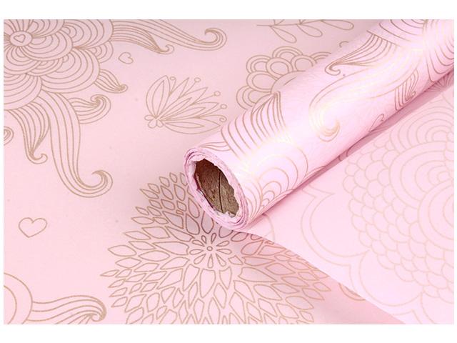 """Бумага упаковочная """"Тишью с узором"""" 58см х 10м, светло-розовая"""