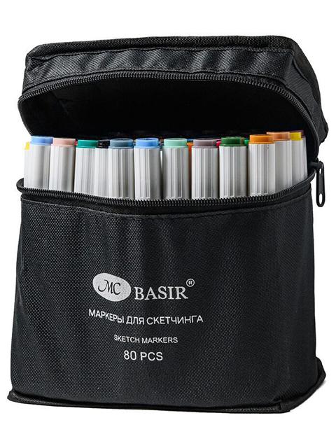 """Набор маркеров для скетчинга """"Basir"""" 80 цветов, двусторонние, трехгранный корпус, в сумке с ручкой"""