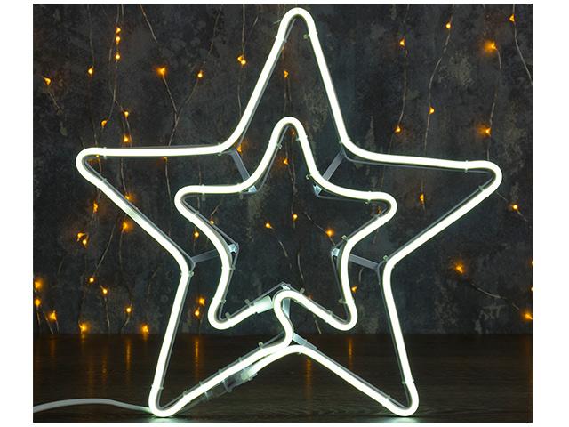 """Фигура световая """"Звезда двойная"""" неоновая, белая, 36х36см, 240LED, 220V"""
