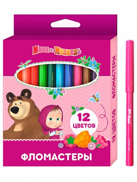 """Фломастеры Росмэн """"Маша и медведь"""" 12 цветов, в карт. упак."""