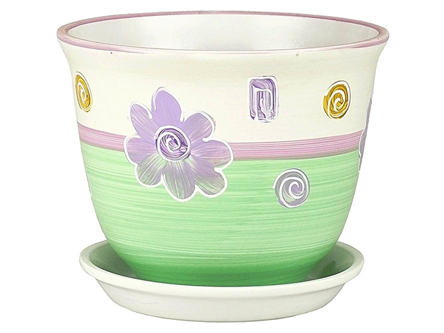 """Горшок для цветов """"Гранд. Ромашки."""" желто-салатовый, 16см, керамика"""