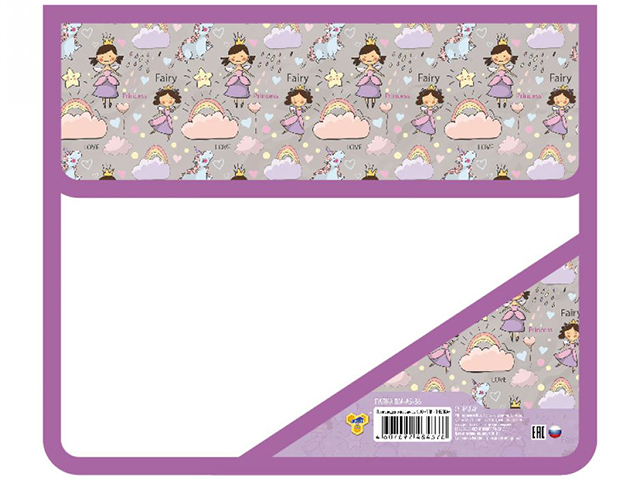 """Папка для тетрадей А5 Пчёлка """"Радужные принцессы"""" на липе, с уголком"""