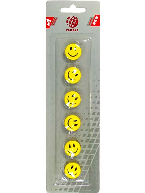 """Набор магнитов для доски Globus """"Смайлики"""" 5 штук 20 мм, желтые"""