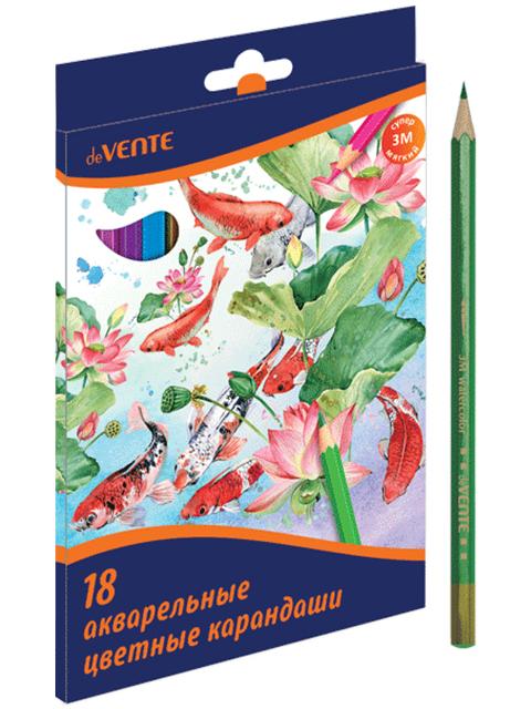 Карандаши цветные deVENTE 18 цветов, акварельные, 3М, в картонной упаковке