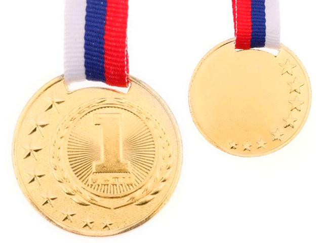 """Медаль призовая """"1 место"""" 064 4,0 см, металлическая, на ленте, золото"""