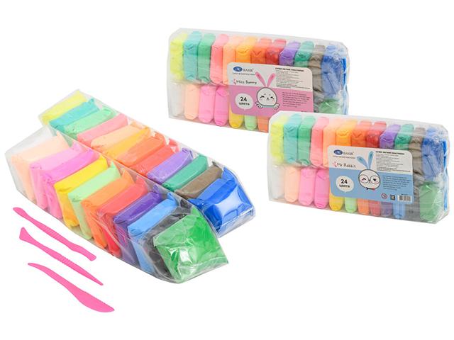 "Пластилин Basir ""Mr Rabbit"", супер легкий, 24 цвета по 13гр, со стеками, в пакете"