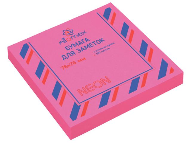 Блок для записей с клеевым краем Attomex 76х76 мм 100 листов, неоновый малиновый