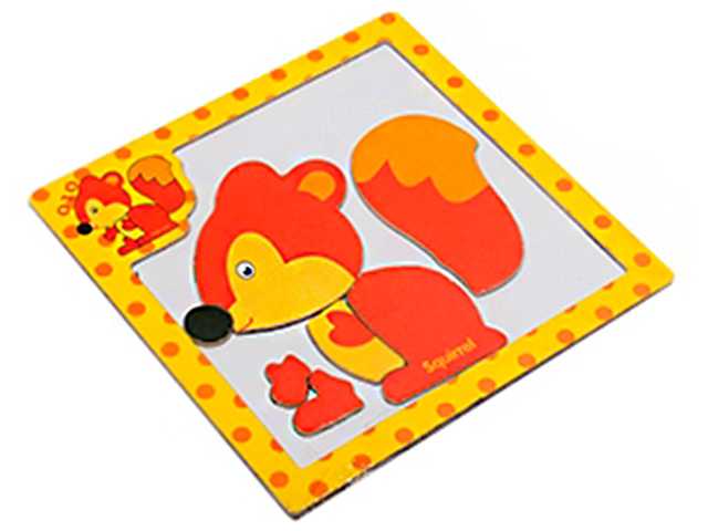 """Пазл- рамка деревянная для малышей, магнитная """"Белочка"""", 7 элементов. 15х15 см"""
