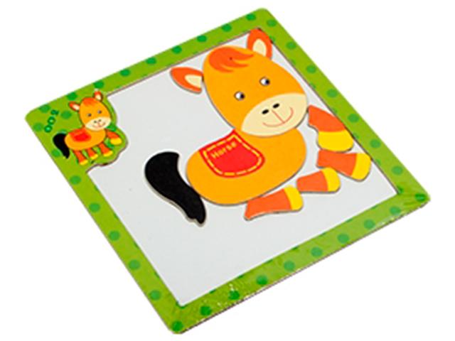 """Пазл- рамка деревянная для малышей, магнитная """"Лошадка"""", 10 элементов. 15х15 см"""