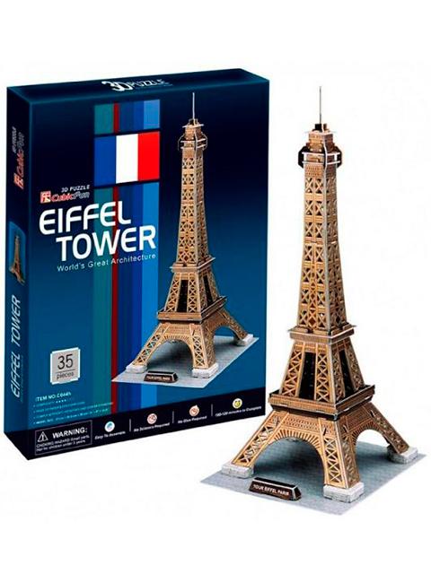 """Конструктор 3D-пазлы """"CubicFun. Эйфелева башня (Франция)"""" 35 деталей"""