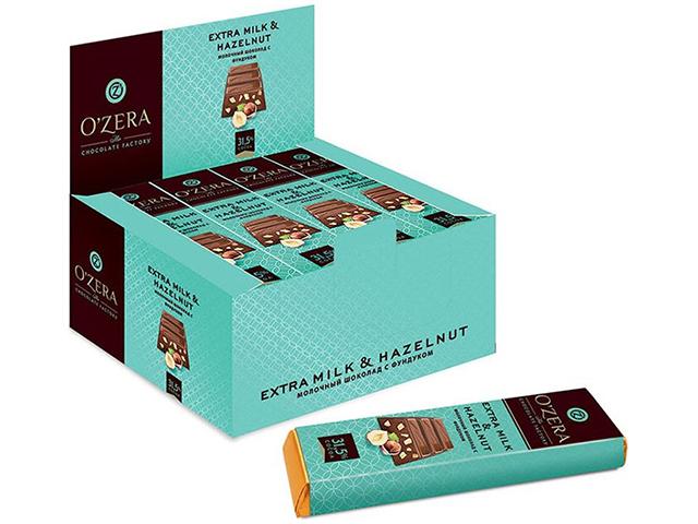 """Шоколад O`ZERA """"Extra Milk & Hazelnut"""" 42 г, молочный с фундуком"""