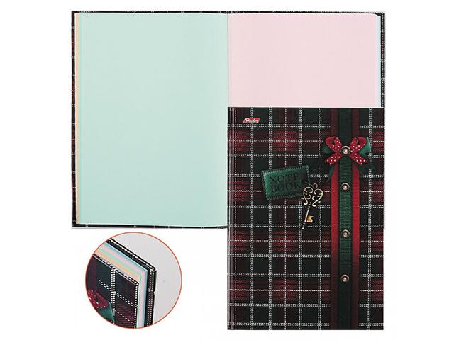 """Бизнес-блокнот А5 96 листов Хатбер """"Шотландка"""" обложка 7БЦ, 4-х цветный блок"""