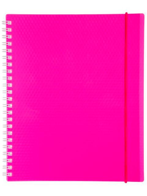 "Тетрадь А5 80 листов клетка Хатбер ""Diamond Neon"" розовая, на спирали с резинкой"