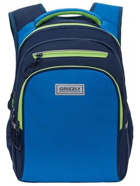 Рюкзак школьный GRIZZLY 26х38х20 см, 1 синий салатовый