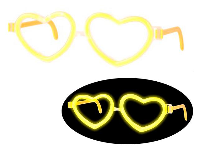 """Светящиеся очки """"Неоновый драйв"""" в форме сердечек, желтые"""