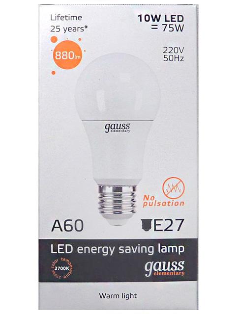 "Лампа светодиодная ""Gauss Elementary"" LED 10Вт 230в Е27 теплый"