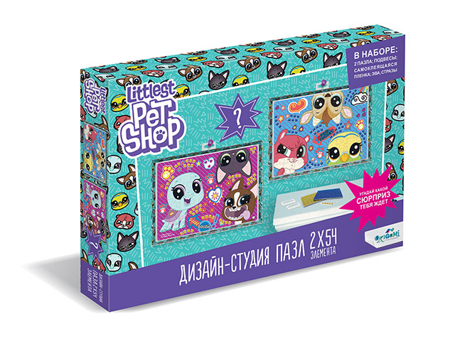 """Пазлы (набор 2 в 1) 2х54 элементов Оригами """"Littlest Pet Shop. Веселые времена"""""""
