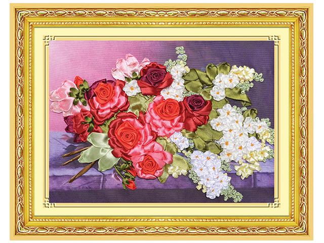"""Набор для творчества Рыжий кот """"Вышивание лентами. Букет с алыми розами"""" 28х38см"""