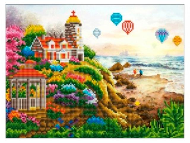 """Алмазная мозаика Рыжий кот """"Домик на скалах и маяк"""", 30х40 см, без подрамника"""