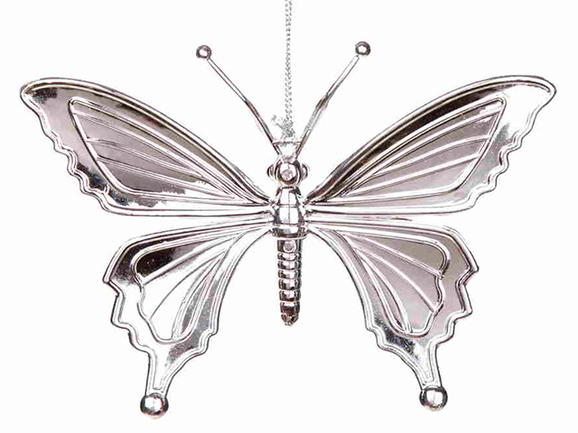 """Новогоднее украшение """"Бабочка серебряная"""" 15,5х10,5 см, пластик"""