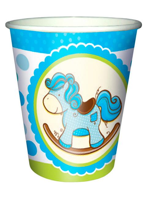 """Стакан бумажный Пати бум """"Лошадка Малыш голубая"""" 250мл. 6шт. в упак."""