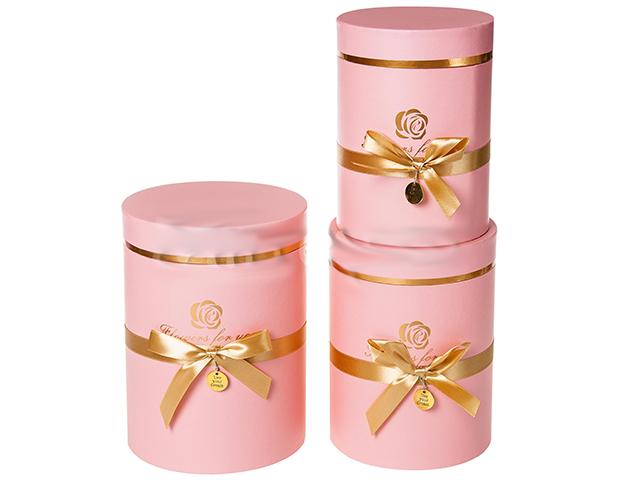 """Набор подарочных коробок """"Цилиндры с бантиком""""  3 штуки, розовый"""