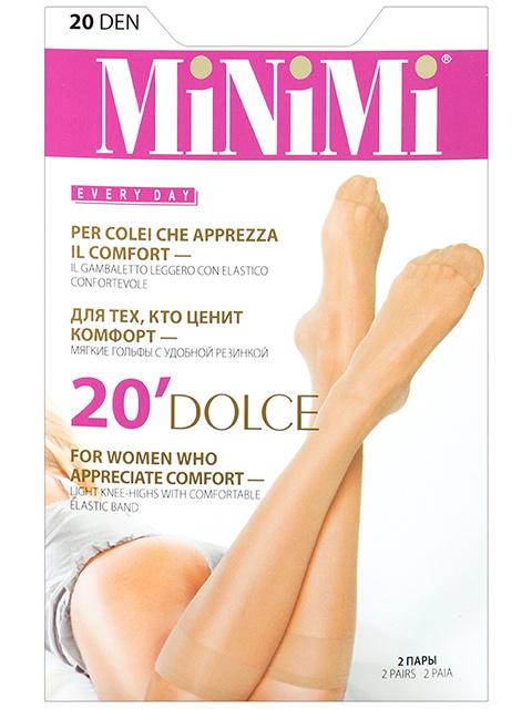 """Гольфы женские капроновые MiNiMi """"Dolce 20"""" Caramello, 2 пары в упаковке"""