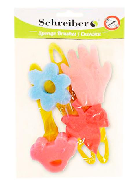 Набор спонжей поролоновых с пластиковыми рукоятками, 4 шт
