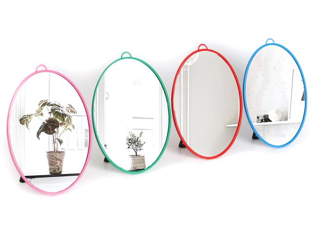 Зеркало складное пластик, под овал, без увеличителя, 28х39,5см, цвет микс