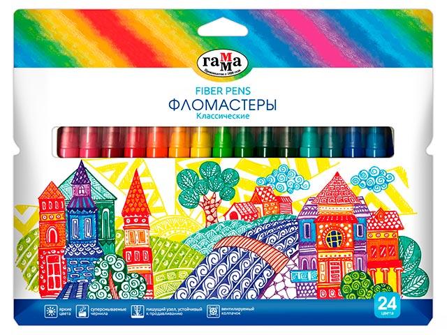 """Фломастеры Гамма """"Классические"""" 24 цвета, смываемые, в картонной упаковке с подвесом"""