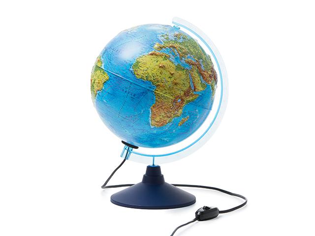 Глобус d=250мм Физический, рельефный с подсветкой Классик Евро