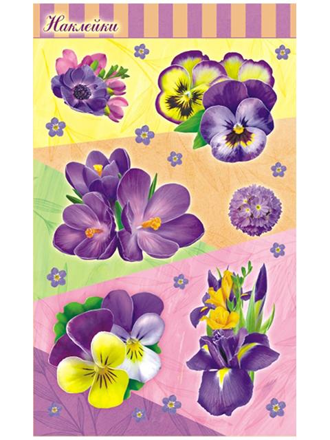 """Наклейки """"Сиреневые цветы"""" 6 штук на листе 10х16 см, с блестками"""
