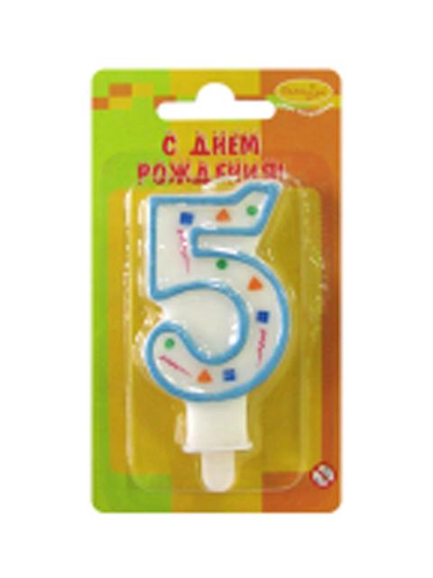 """Свеча-цифра """"5"""" голубое конфетти"""