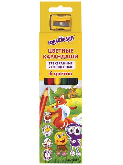 """Карандаши цветные утолщенные Юнландия """"Сказочный мир"""" 6 цветов, с точилкой, в картонной упаковке с европодвесом"""