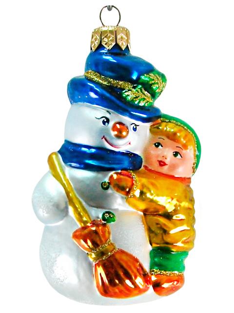 """Елочное украшение фигурка """"Снеговик с мальчиком"""" стекло"""