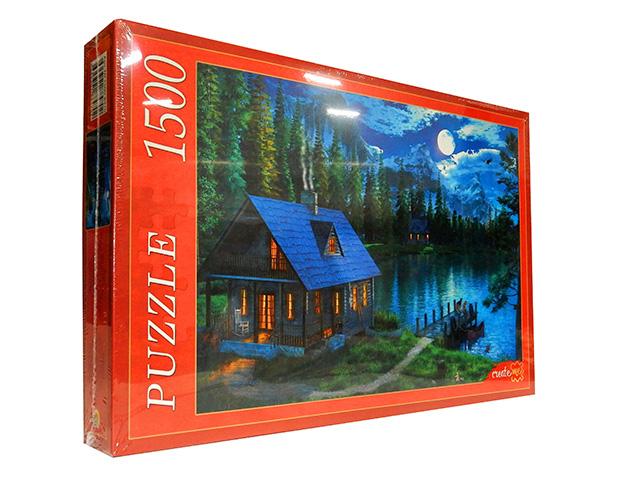 """Пазлы 1500 элементов 850х580 Рыжий кот """"Доминик Дэвисон. Ночное озеро в лесу"""""""
