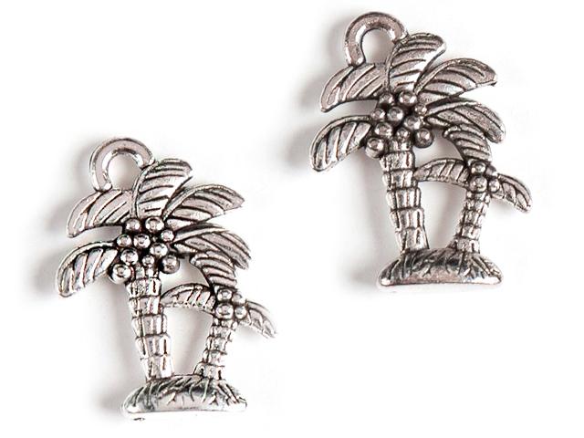 """Подвеска металлическая """"Пальмы"""" 19х14 мм, серебро (цена за 1 шт)"""