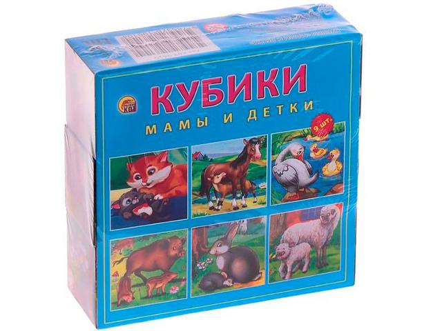 """Кубики Рыжий кот """"Мамы и детки"""" 9 шт пластиковые"""