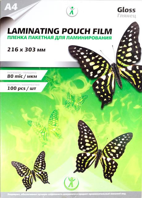 Пленка для ламинирования А4 LF Gloss 80 мкм, 216*303 мм, 100 листов (бабочка)
