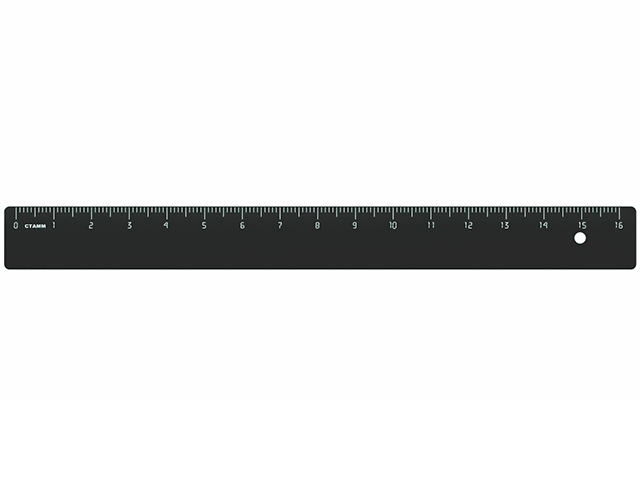 Линейка пластмассовая 16 см СТАММ непрозрачная, черная