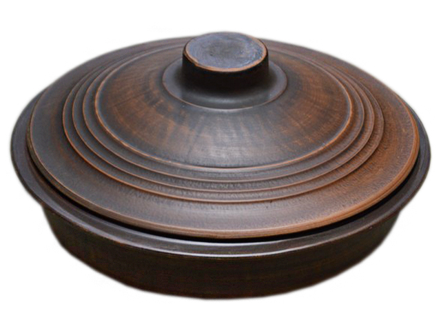 Сковорода с крышкой 2л, красная глина