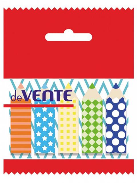 """Этикетки-закладки с клеевым краем deVENTE """"Карандаши"""" бумажные, 44х12мм, 5х20 листов"""