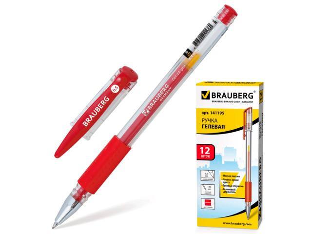 """Ручка гелевая BRAUBERG """"Number One"""", узел 0,5 мм, линия 0,35 мм, резиновый упор, красная, 141195"""