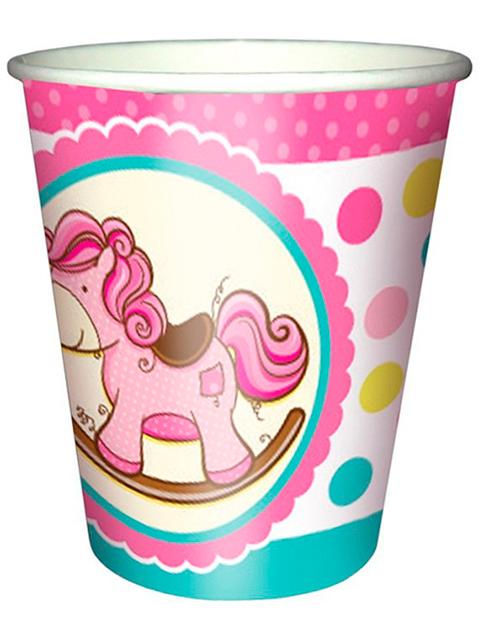 """Стакан бумажный Пати бум """"Лошадка Малышка розовая"""" 250мл. 6шт. в упак."""