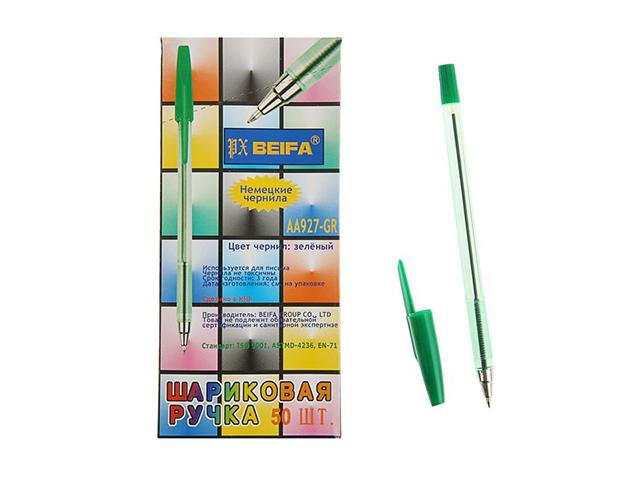 Ручка шариковая BEIFA корп. прозрачный, металл. наконечник, зеленая (без штрих-кода)