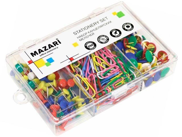 Набор канцелярских принадлежностей Mazari 250 штук (кнопки силовые, скрепки, кнопки канцелярские) в пластиковом боксе
