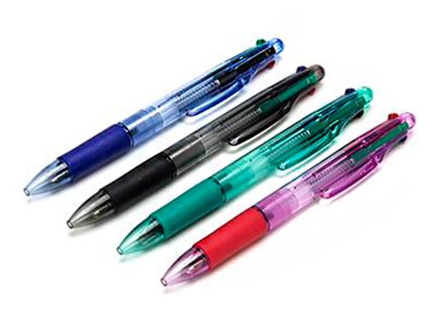 Ручка шариковая автоматическая 4-х цветная, резиновый держатель