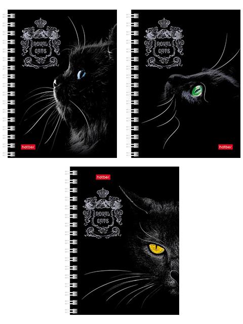 "Записная книжка А6 80 листов Хатбер ""Royal Cats"", на гребне"